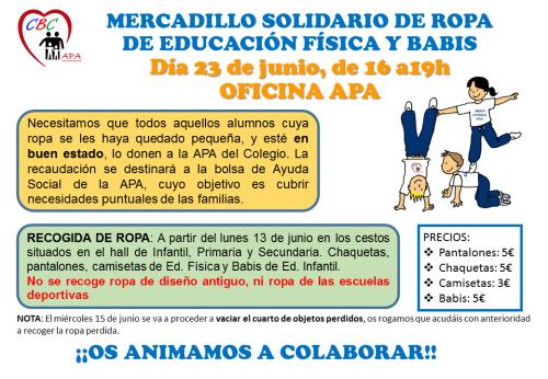 MERCADILLO SOLIDARIO DE ROPA DE EDUCACIÓN FÍSICA 2016